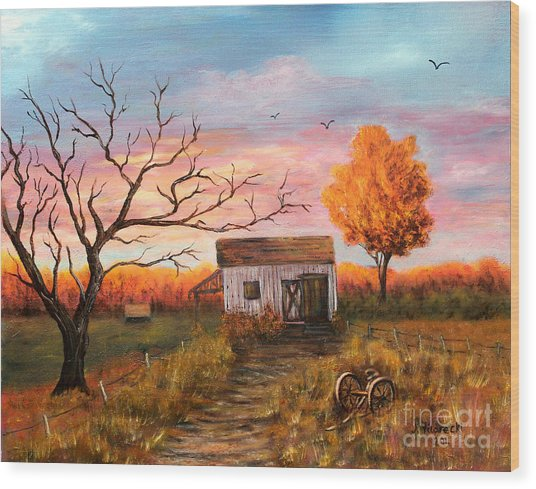 Old Barn Painting At Sunset Wood Print