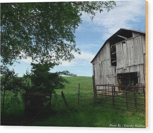 Old Barn With Beautiful Sky Wood Print by Timothy Hudson