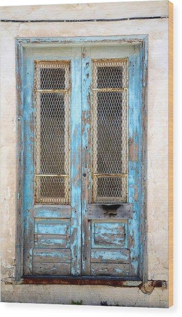Old Blue Door Wood Print