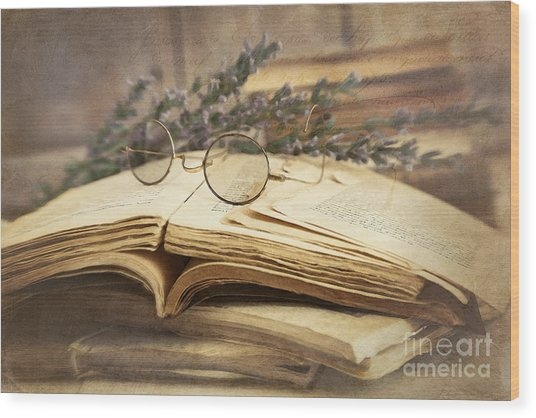 Old Books Open On Wooden Table  Wood Print