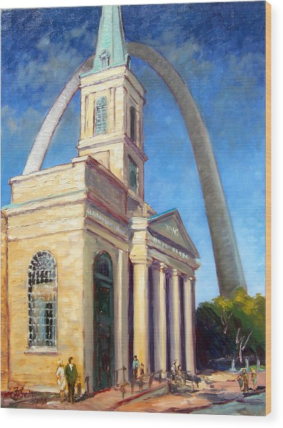 Old Cathedral Church In St.louis Wood Print