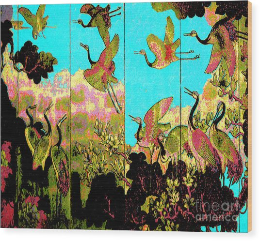 Old Chinese Screen Wood Print