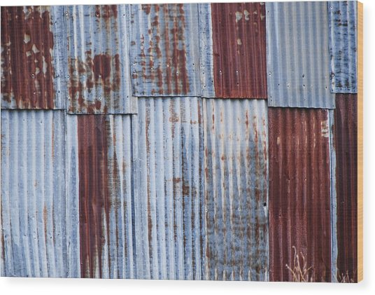 Old Corrugated Iron Wood Print