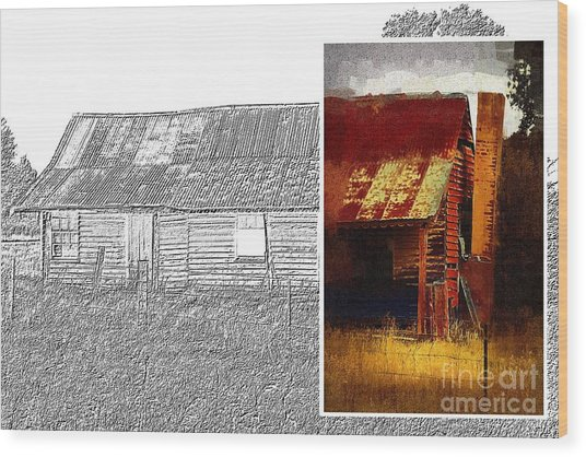 Old Cottage Diptych 1 Wood Print
