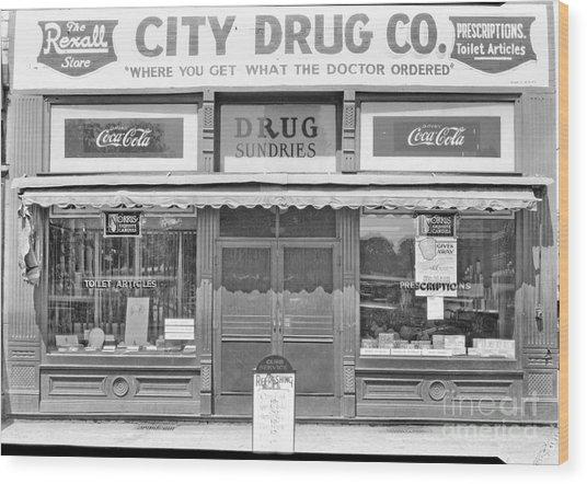 Old Drug Store Circa 1930 Wood Print
