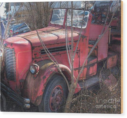 Old Firetruck Wood Print