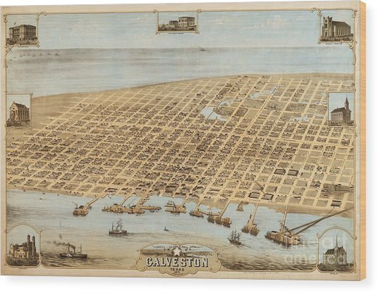 Old Galveston Map Wood Print by Roberto Prusso