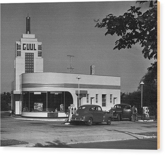 Old Gasoline Station Wood Print by George Marks
