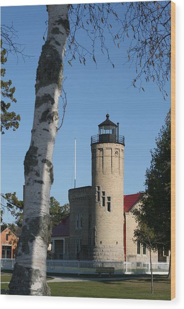 Old Mackinac Point Lighthouse Wood Print by Brady D Hebert