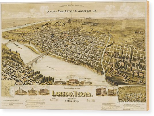Old Map Laredo Texas Wood Print by Pg Reproductions