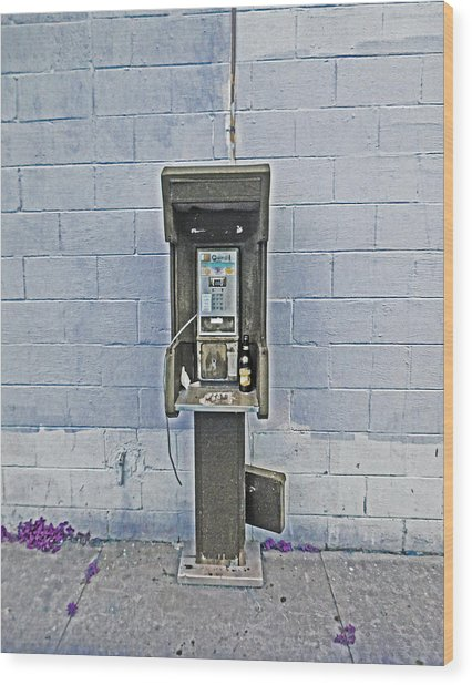Old Pay Phone In New Orleans Wood Print