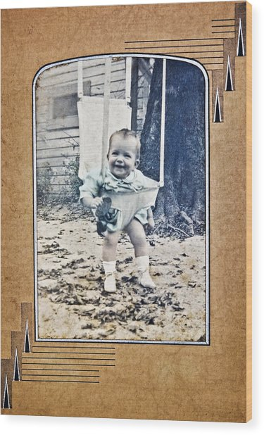Old Photo Of A Baby Outside Wood Print
