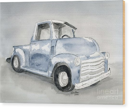 Old Pick Up Truck Wood Print