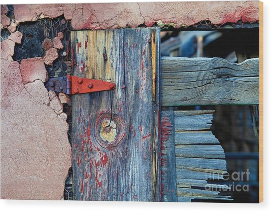 Old Pink Chicken Coop Wood Print