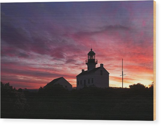 Old Point Loma Lighthouse Sunset Wood Print