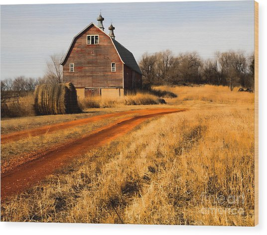 Old Red Road And Barn Wood Print