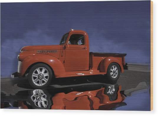 Old Red Truck Wood Print