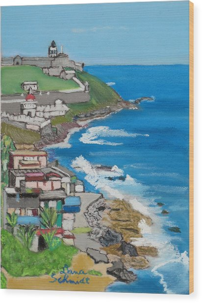 Old San Juan Seacoast In Puerto Rico Wood Print