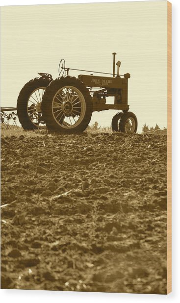 Old Tractor I In Sepia Wood Print