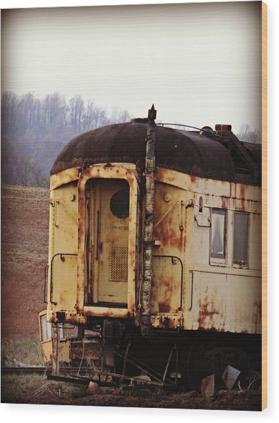 Old Train Car Wood Print by Brenda Conrad