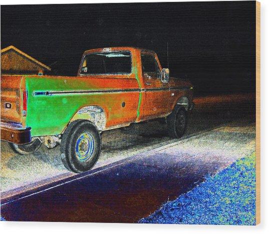 Old Truck At Night Wood Print