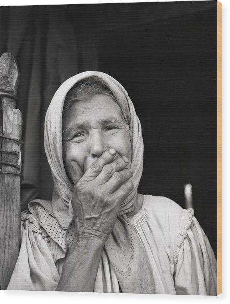 Old Woman From Maramures Romania Wood Print by Emanuel Tanjala
