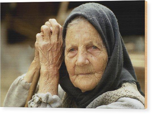 Old Woman In Vrancea Romania Wood Print