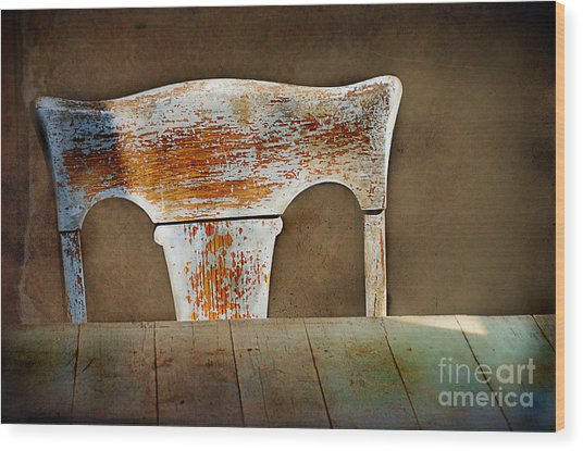 Old Wooden Chair Wood Print