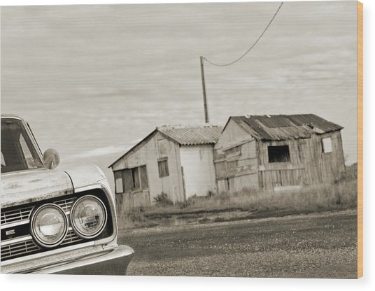 Olds Cutlass 63 Headlights And Huts Bw Wood Print by Philippe Taka