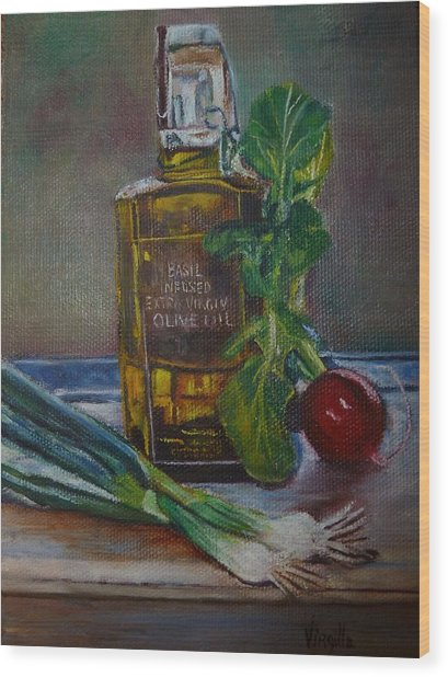 Olive Oil With Onions And Radish Wood Print by Virgilla Lammons