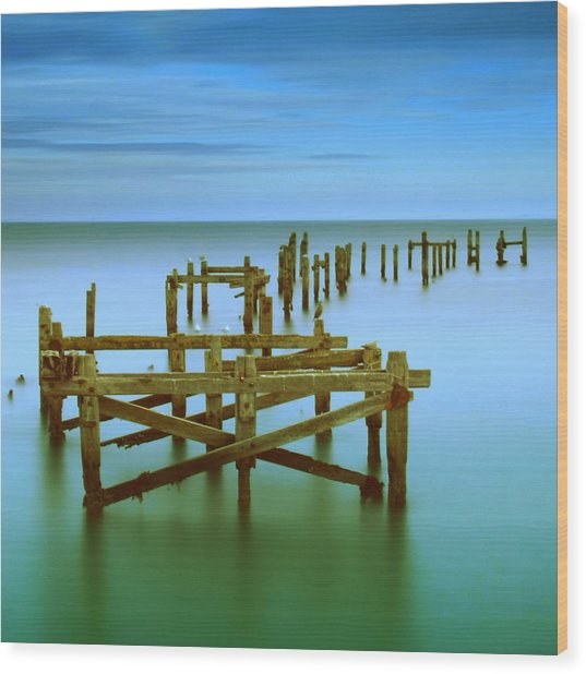 Ols Swanage Pier Wood Print by Mark Leader