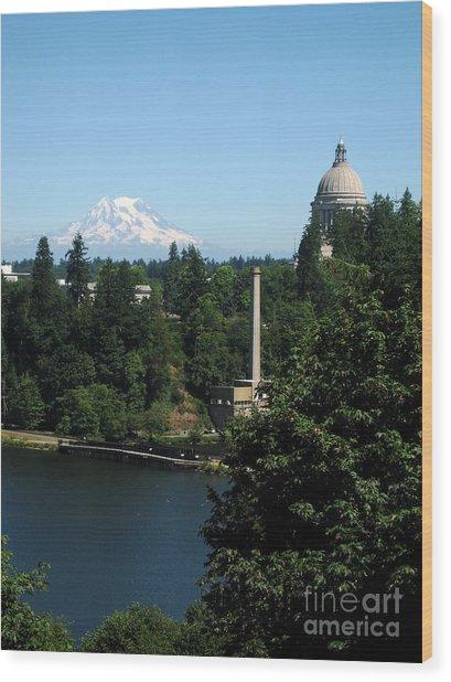 Olympia Wa Capitol And Mt Rainier Wood Print