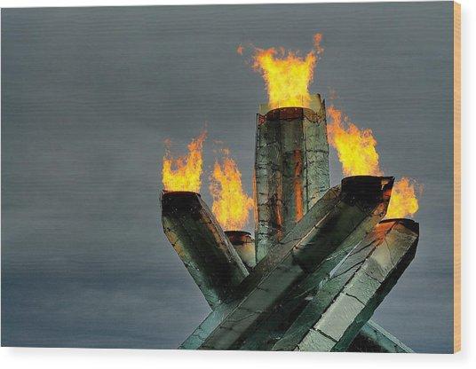 Olympic Cauldron Wood Print by Sandra Sigfusson
