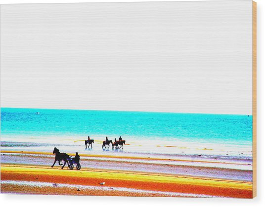 On The Beach Wood Print by Amanda Pillet
