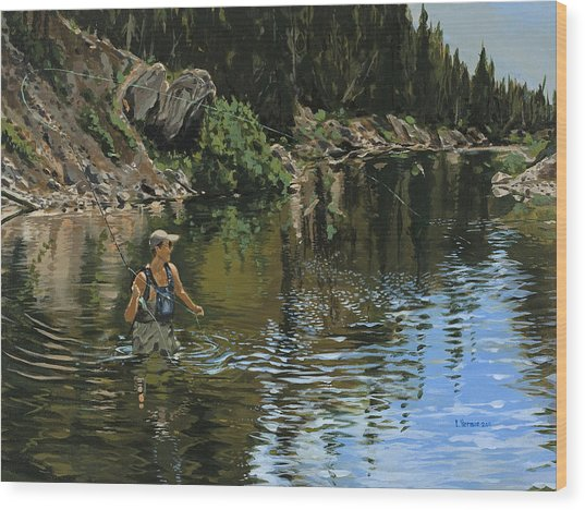 On The Deadwood River Wood Print