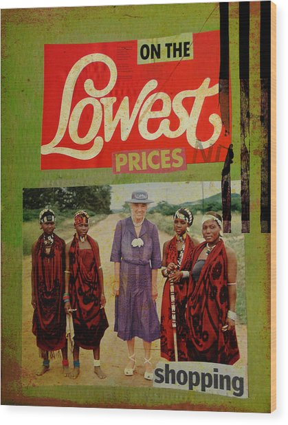 On The Lowest Prices Shopping Wood Print by Adam Kissel