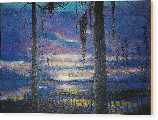 On The Shore Of Waccamaw Wood Print