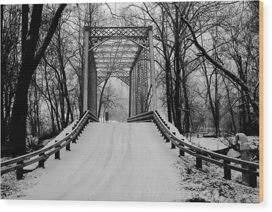 One Lane Bridge In Snow Wood Print