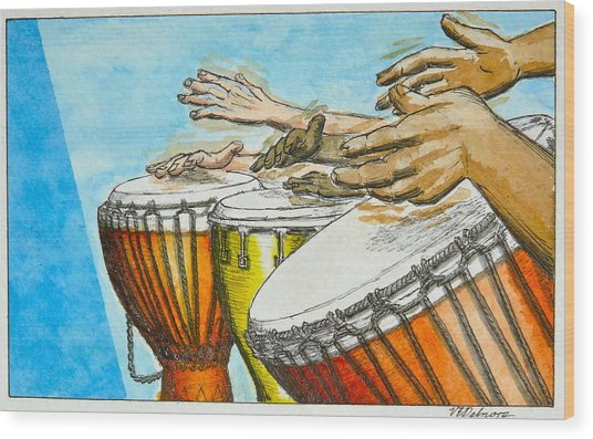 One Song Many Hands Wood Print