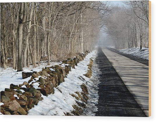 One Track Road Wood Print