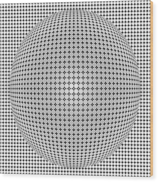 Optical Illusion Plastic Ball Wood Print
