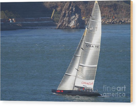 Oracle Racing Team Usa 76 International America's Cup Sailboat . 7d8069 Wood Print by Wingsdomain Art and Photography