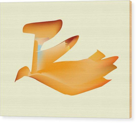 Orange Jetpack Penguin Wood Print