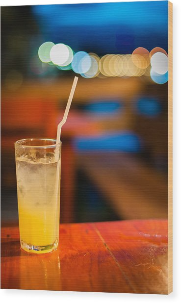 Orange Juice On Table Wilth Color Of Light Wood Print by Kittipan Boonsopit
