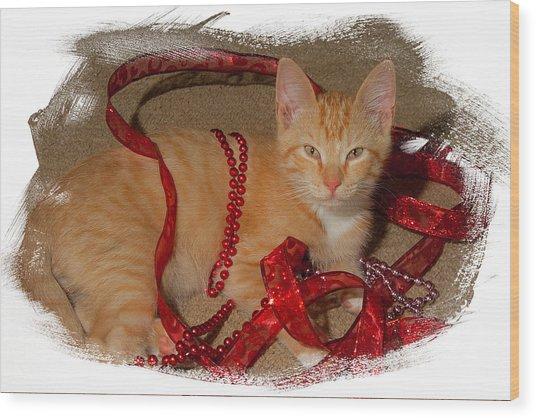 Orange Kitten With Red Ribbon Wood Print