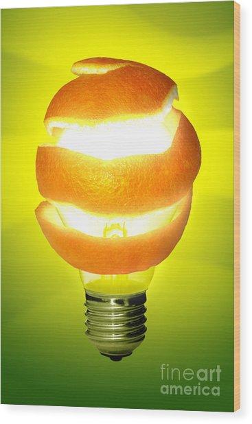 Orange Lamp Wood Print