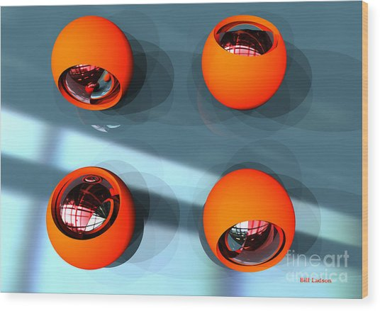 Orange Orbs Hdri Wood Print