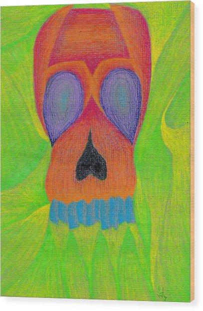 Orange Skull Wood Print
