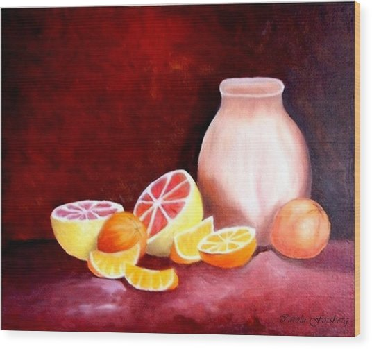 Orange Still Life Wood Print by Carola Ann-Margret Forsberg