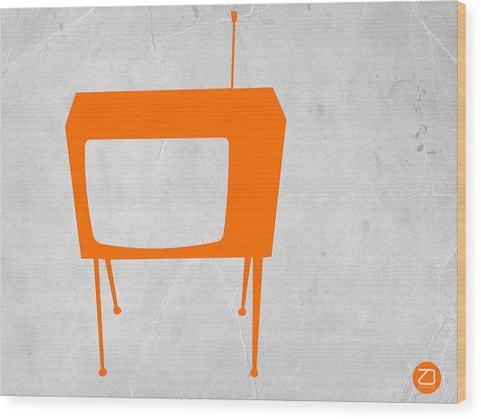 Orange Tv Wood Print
